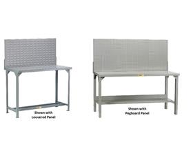 ALL-WELDED STEEL WORKBENCHES WITH PEGBOARD OR LOUVERED PANELS